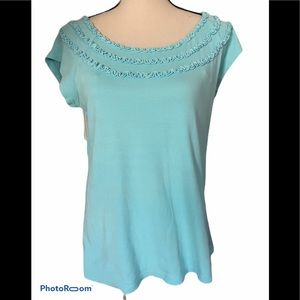 Fresh Produce Turquoise SS top Sz L
